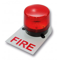 Red 24VDC Strobe with White Fire Back Plate Label - 125mA