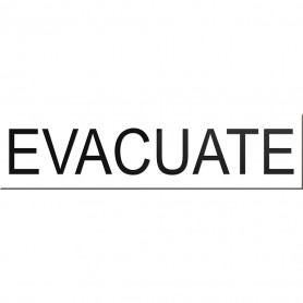 Evacuate Sign for VADs or VWDs - White