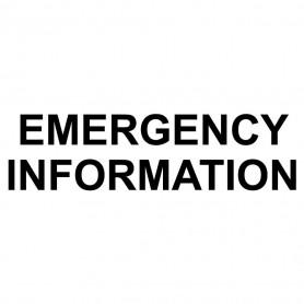 Printed Sticker - Emergency Information