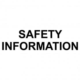 Printed Sticker - Safety Information