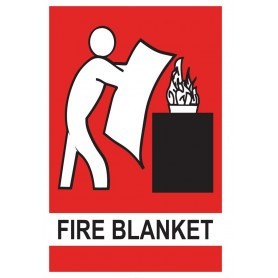 Fire Blanket Location - Vinyl Sticker - 150 x 225mm