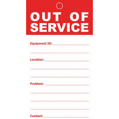Out Of Service Tag - Paper