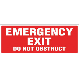 Emergency Exit Do Not Obstruct - Red Sign - 320 x 120mm