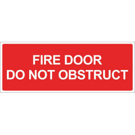 Fire Door Do Not Obstruct - Vinyl Sticker - Red - 300 x 125mm