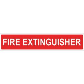 FIRE EXTINGUISHER - Red Vinyl Sticker - 500 x 100mm