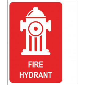 Fire Hydrant - Right Angle Sign Picto & Words - 150 x 225mm