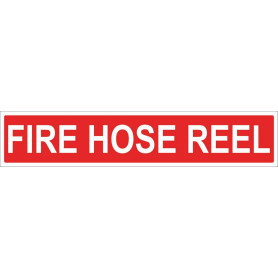 FIRE HOSE REEL - Red Vinyl Sticker - 500 x 100mm