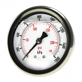 63mm Face Pressure Gauge 0-1600kPa 8mm BSP Rear Entry, Liquid Filled
