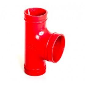80Nb x 80Nb x 100Nb Bull Head Tee Grooved Gal - Powder Coated Signal Red