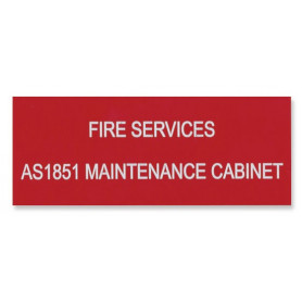 Traffolyte Sign - Fire Services AS1851 Maintenance Cabinet RED