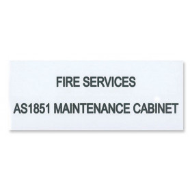 Traffolyte Sign - Fire Services AS1851 Maintenance Cabinet WHITE