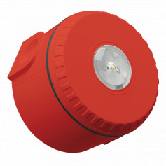 Ceiling Mount Visual Warning Device With Deep Base - Red Body with Red Lens