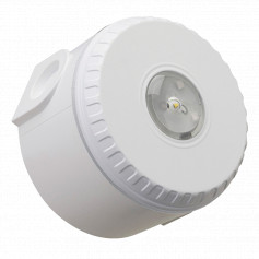 Ceiling Mount Visual Warning Device With Deep Base - White Body with Red Lens