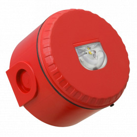 Wall Mount Visual Warning Device with Deep Base - Red Body with Red Lens