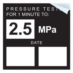 Pressure Test - 2.5 MPA Sticker