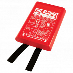 Small 1m x 1m Fire Blanket - Hard Case - Black Tags