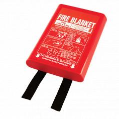 Medium 1.2m x 1.2m Fire Blanket - Hard Case - Black Tags