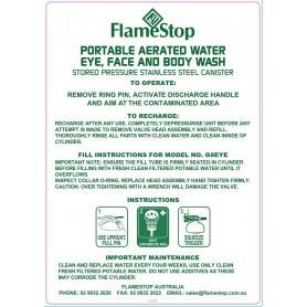 Portable Eyewash Label - 9.0L