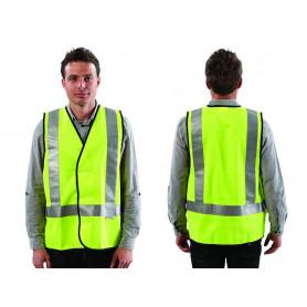 Fluoro Yellow H Back Safety Vest - Day/Night Use - Medium