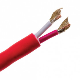 2hr Fire Rated - FLAT Plain Red 2 Core - 1.5mm Cable - 100m Roll