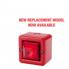 Red Square Weatherproof Sounder & Strobe with Mounting Base – IP66