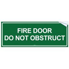 Fire Door Do Not Obstruct - Vinyl Sticker