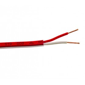 FLAT Red Twin Fire Cable - 1.0mm - 500m Roll - WITH WHITE TRACE/STRIPE