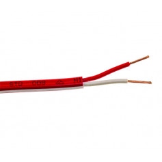 FLAT Red Twin Fire Cable - 1.5mm - 200m Roll - WITH WHITE TRACE/STRIPE