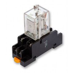 24VDC Coil 10A DPDT Relay with Base - Din Mount